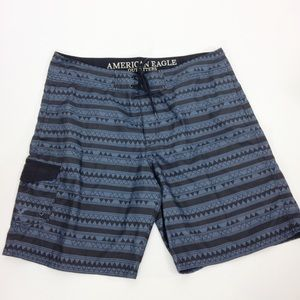 American Eagle Gray Black Aztec Tribal Swim Trunks